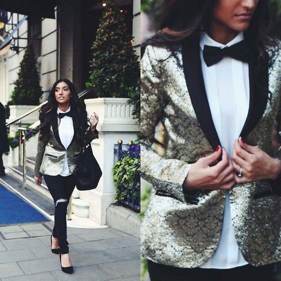 sequin blazer | Homecoming outfits, Women wearing ties, Fashi