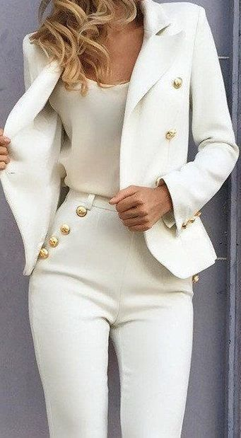 Balmania Stand Out White Blazer Gold Buttons | Clothes, Fashion .