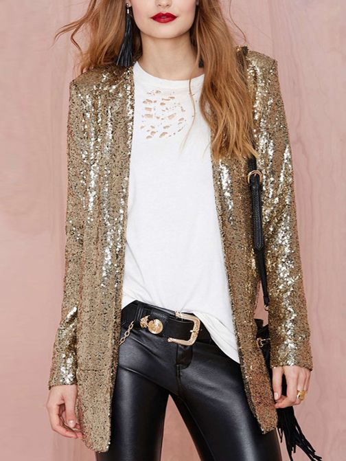 Women Gold Sequin Boyfriend Suit Coat (With images) | Fashion .