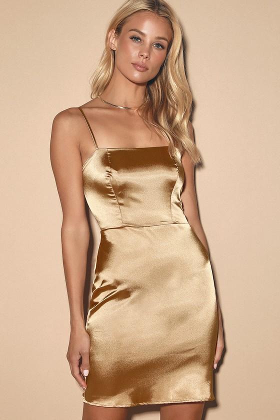 Sexy Gold Bodycon Dress - Satin Mini Dress - Bodycon Mini Dre