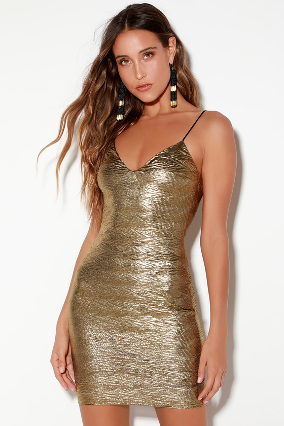Sexy Gold Dress - Bodycon Dress - Textured Metallic Dre