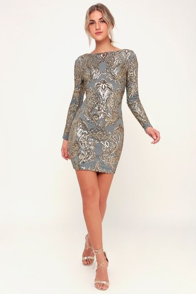 LOLA LIGHT BLUE AND GOLD SEQUIN LONG SLEEVE BODYCON DRESS .