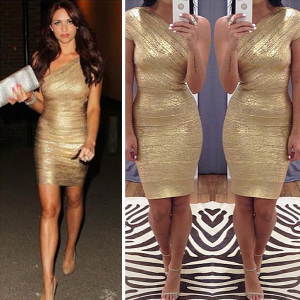 amy childs, bandage dress, gold, gold dress, sexy dress, bodycon .