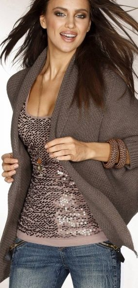 sequin tank, cute look with the sweater | Fashion, Style, Autumn .