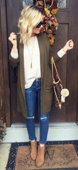 Top: White Long Sleeve Sweater, Green Cardigan 🔅 Bottom: Jeans .