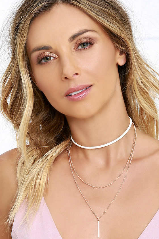 Cute Choker Necklace - Layered Choker - Ivory and Gold Choker - $13.