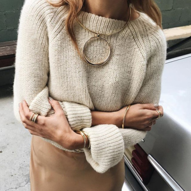 jewels, tumblr, sweater, beige sweater, necklace, knitted sweater .