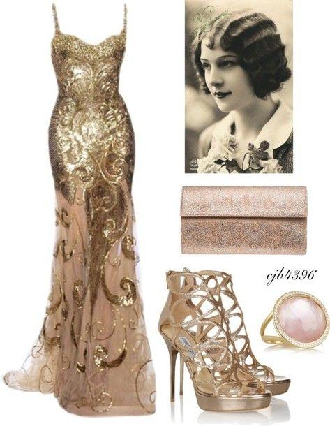 Dress, 20s dresses, gold dress, gold, gown, evening dress, shoes .