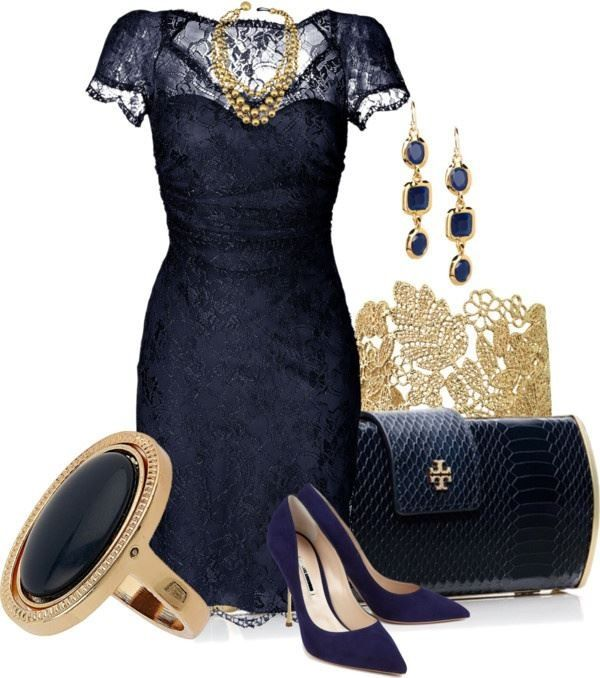 Navy and Gold Lace | Fashion, Navy lace dre