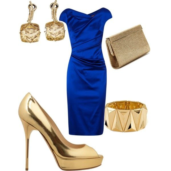 royal blue dress and gold earrings/ shoes/ braclet/ clutch by .