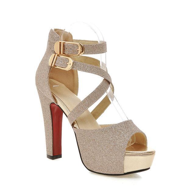 Women's Fashion Wedding High Heel Sandals - Black,Gold,Silver .