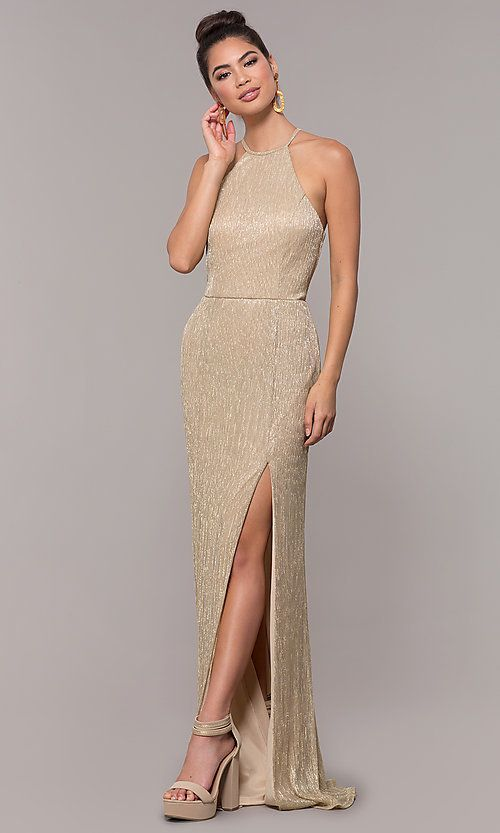 Lame High-Neck Long Prom Dress in 2020 | Gold formal dress .