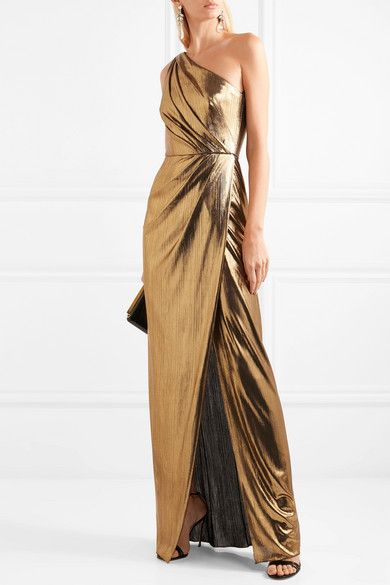 Marchesa Notte | One-shoulder draped lamé gown | NET-A-PORTER.COM .