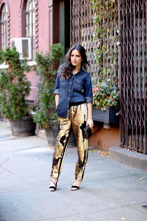 11 Ways to Make Sequin Pants Look (Very) Cool | Gold sequin pants .