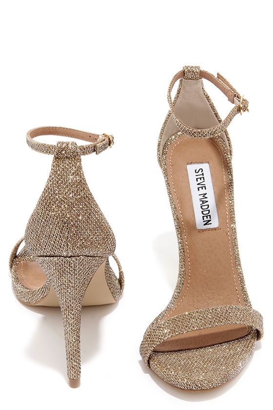 Steve Madden Stecy Gold Fabric Ankle Strap Heels at Lulus.com .