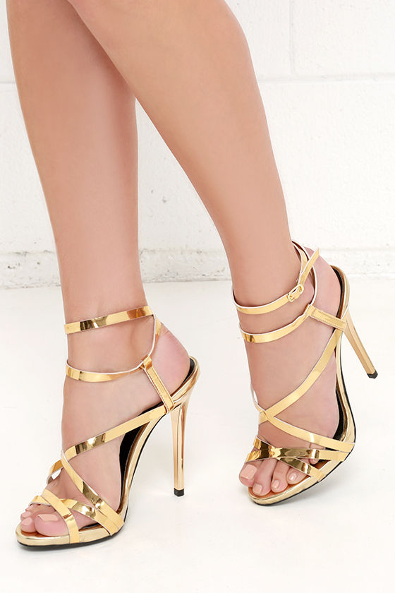 Lovely Gold Heels - Dress Sandals - Gold Sandals - $33.