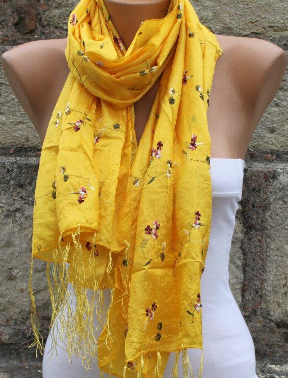 Yellow Silk Scarf Spring Scarf Floral Scarf Gold Scarf - Shawl .