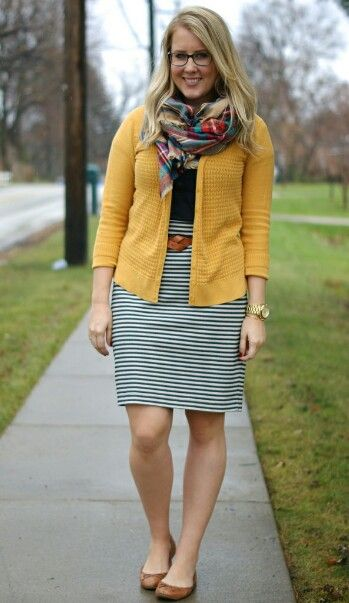 wearing rain boots to work | Striped pencil skirt outfit, Striped .