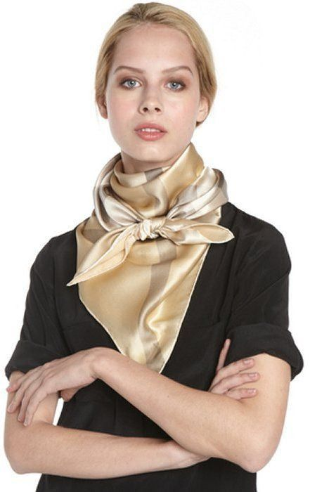 Burberry gold | Scarf styles, Silk neck scarf, Womens scarv