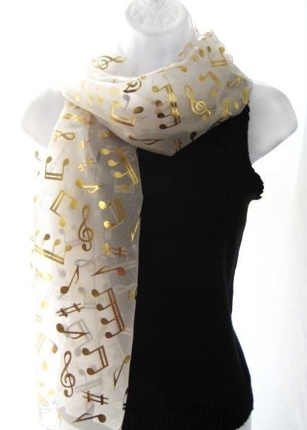 NEW IVORY GOLD MUSIC NOTE SCARF SHAWL PERFORMANCE CHOIR HOLIDAY .