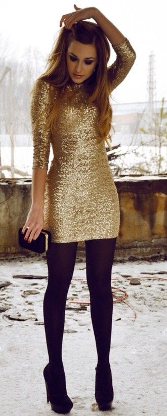dress sequin dress gold black new year's eve gold winter party .