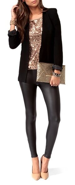 """LOVE!! Ordered gold sequin top and black """"leather"""" leggings today ."""