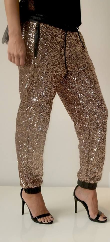Here's the side view of our lovely sequin joggers! Available in .