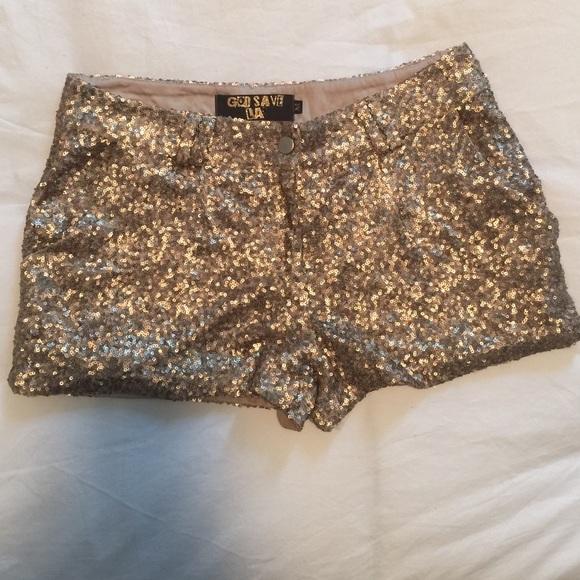 God Save LA Other   Gold Sequin Shorts Size M   Poshma