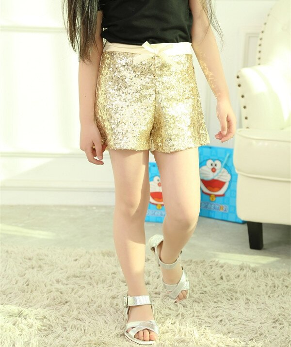2015 Hottest Children Girl Gold Sequin Shorts Summer Style .
