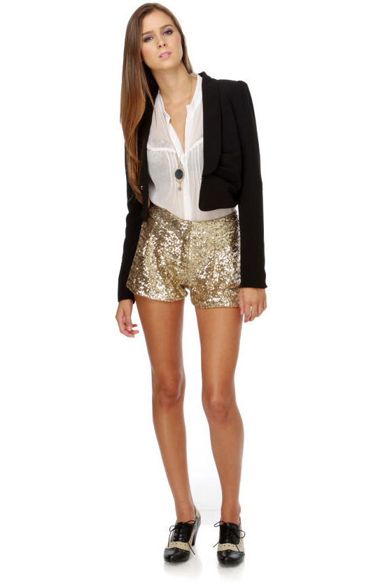 Cute Sequin Shorts - Gold Shorts - Tap Shorts - $55.