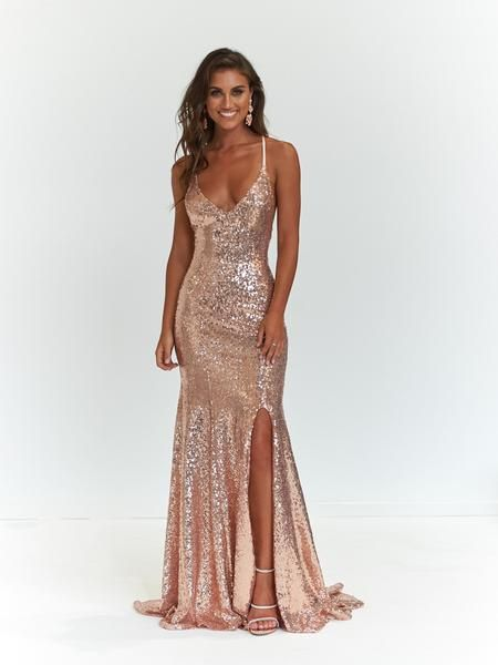 A&N Kara Sequin Gown - Rose Gold in 2020 | Gold prom dresses, Ball .