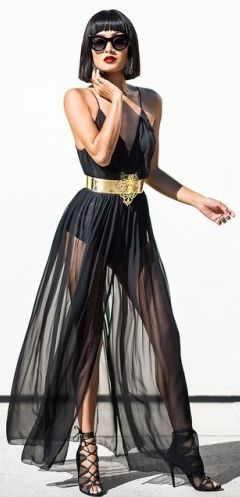 Black Sheer Dress And Gold Belt Outfit Idea … | Black sheer dre