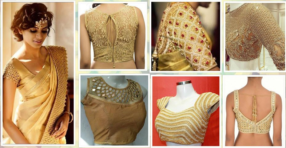 20+ Latest Golden Blouse Designs | Golden blouse designs, Golden .