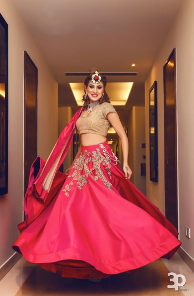 Red silk lehenga for mehendi with gold blouse | Bridal outfits .