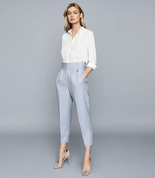Evelyna White Ladder Detail Grandad Collar Shirt – REI