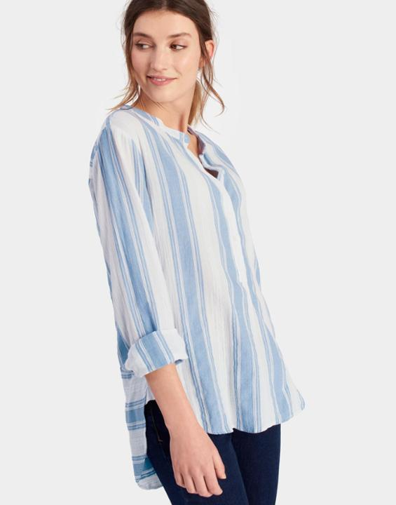 Nicola May Stripe Grandad Collar Shirt | Joules