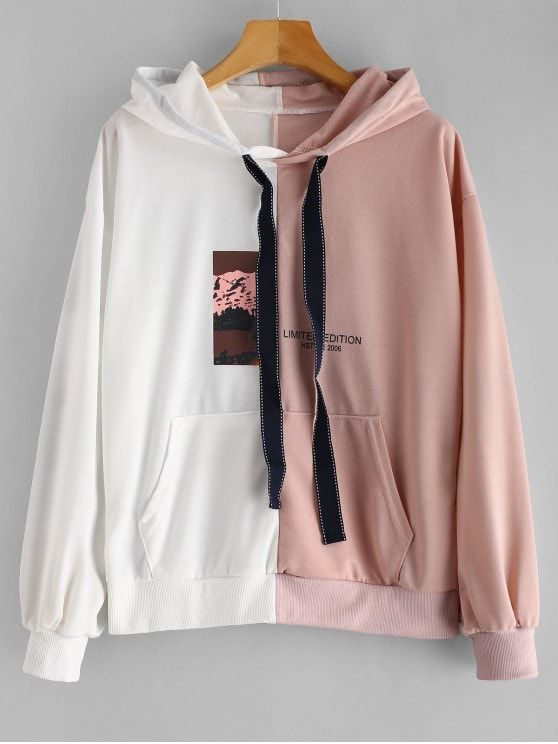 Front Pocket Two Tone Graphic Hoodie zaful #zaful ,champion hoodie .