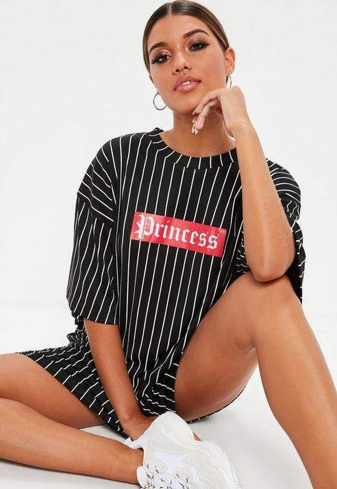 Black Oversized Princess Graphic T Shirt Dress | Oversized t shirt .