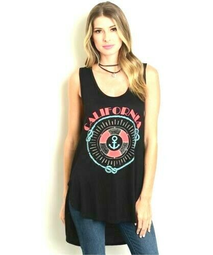 womens S tunic length hi lo graphic tank top jersey knit black .