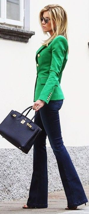 Green Blazer + Navy Flares… | Casual outfits, Business casual .