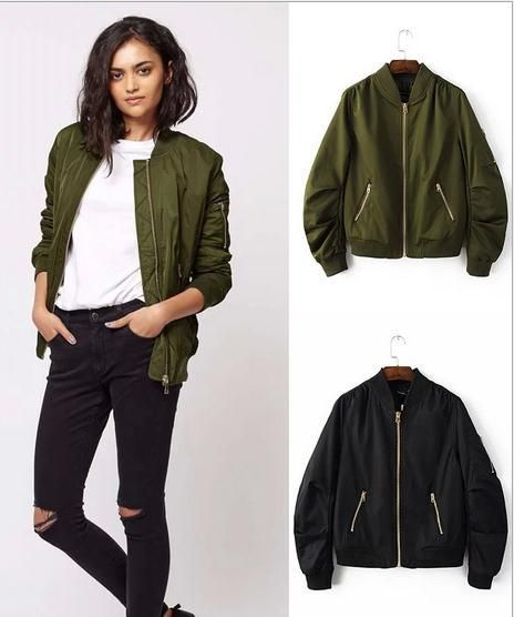 Women's Jackets | Army green bomber jacket, Bomber jacket, Green .