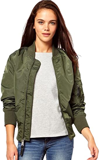 Amazon.com: Women Short Bomber Jacket Women Coat Classic (Asian L .