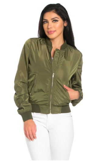 Custom Text Womens Olive Green Bomber Jacket – ADashOfCh