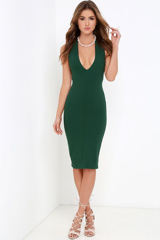 Betwixt and Between Dark Green Backless Midi Dress | Backless .