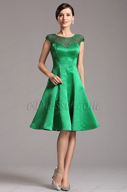 Capped Sleeves Illusion Sweetheart Green Cocktail Dress (X04160304 .