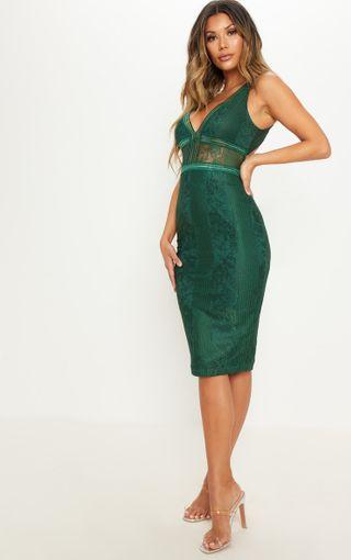 Emerald Green Open Back Midi Dress | Dresses | PrettyLittleThing U