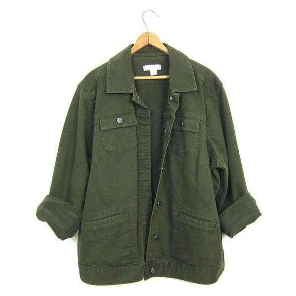 Vintage Army Green Jean Jacket 90s Dark Green Denim Grunge Jacket .