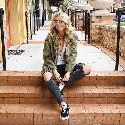 distressed jeans, play date outfit, green jacket outfit, vans .