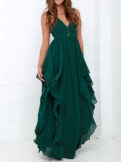 Plunging Ruffle Layered Maxi Chiffon Dress | Kleidung, Lange .