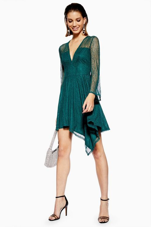 Lace Hanky Hem Skater Dress | Skater dress, Dresses, Green la
